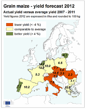 Prognos över produktion av majs i Europa - Karta