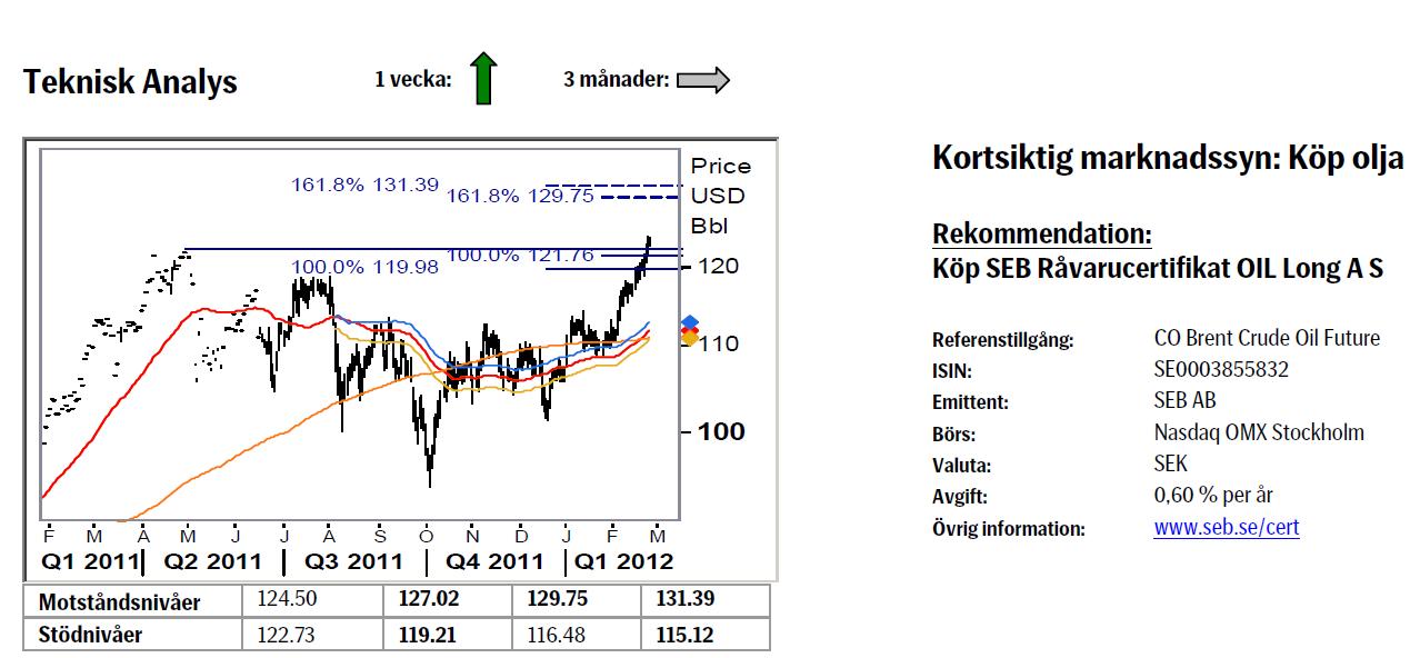 Prognos på oljepriset den 27 februari 2012