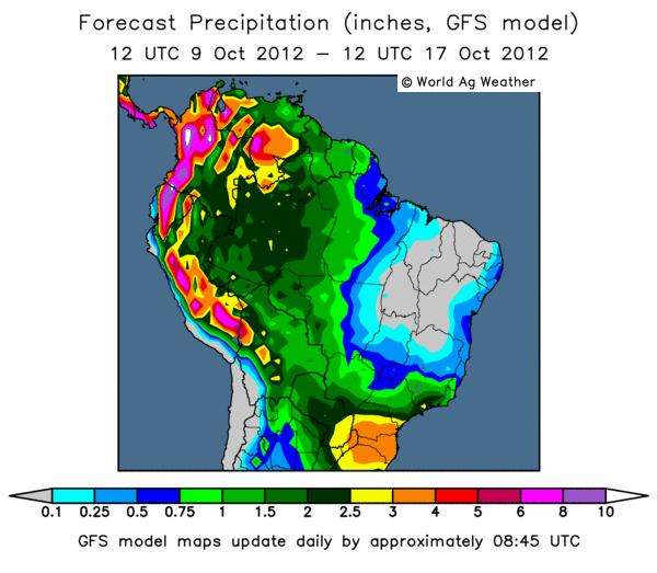 Prognos över regn i Sydamerika