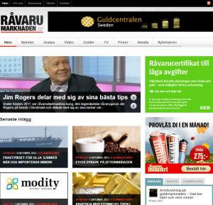 Skärmdump på Råvarumarknaden.se