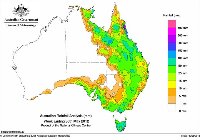 Regn - Karta över Australien
