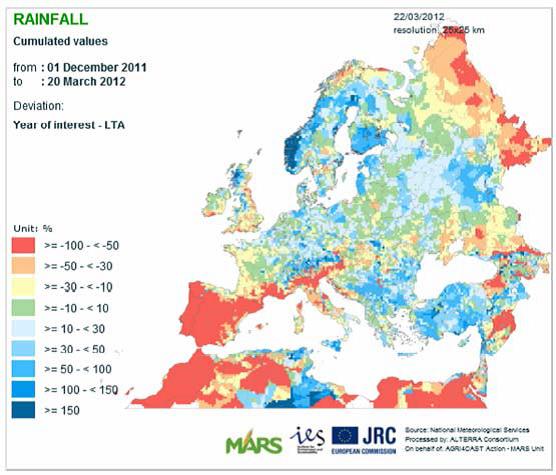 Regnkarta över Europa från december 2011 till mars 2012