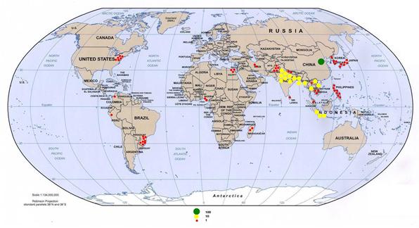 Risproduktion i världen år 2005
