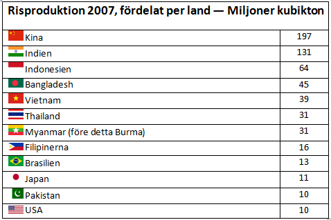 Risproduktion per land år 2007