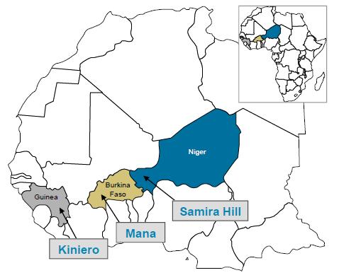 Karta över Semafo guldgruvor