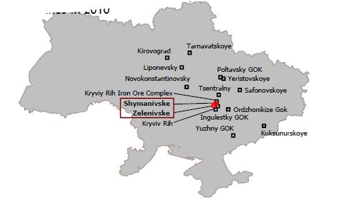 Shymanivske-fyndigheten - Karta över Ukraina
