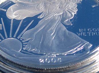 Amerikanskt silvermynt i närbild
