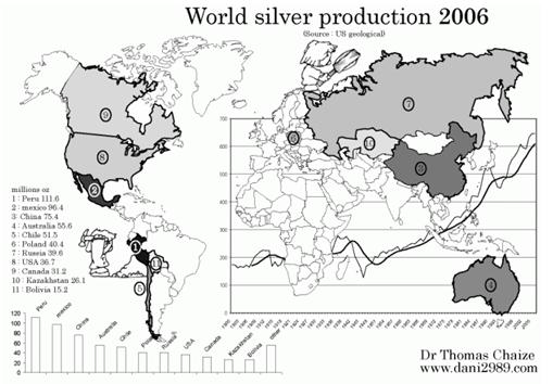 Silverproduktion i världen år 2006