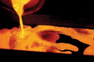 Smält guld från guldgruva