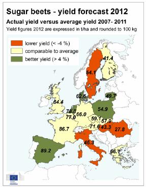 Karta över sockerbetor i EU