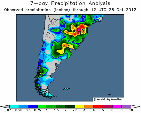 Sojabönor - 7-day precipitation analysis