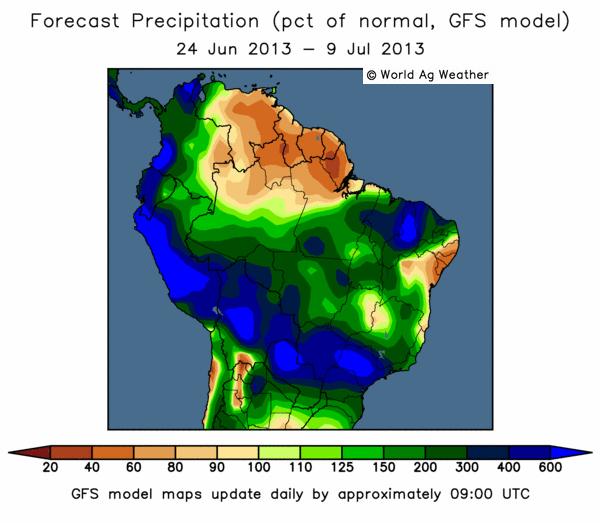 GFS-modellen för Sydamerika