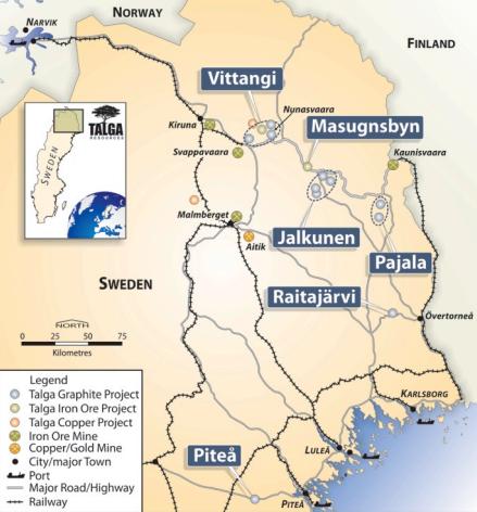 Talga Reources tillgångar i Sverige
