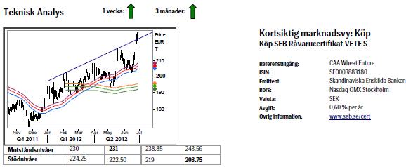 Teknisk analys på vetepriset den 29 juni 2012