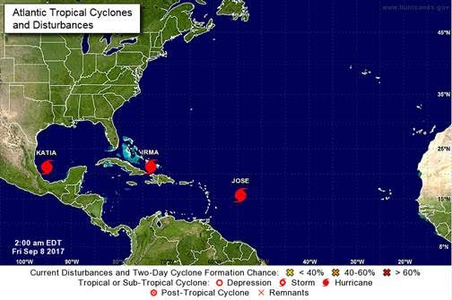 Three hurricanes now in action