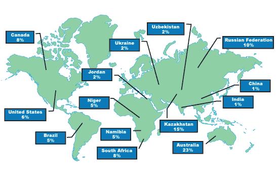 Karta över tillgång på uran i världen
