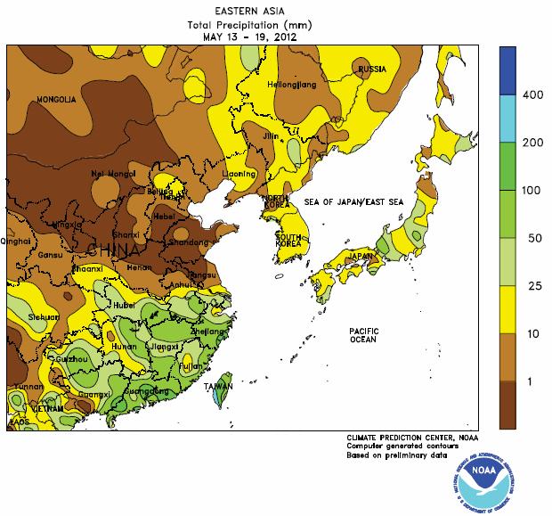 Torka i veteodlingsområdena i Kina