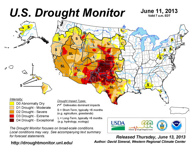 US drought monitor den 13 juni 2013