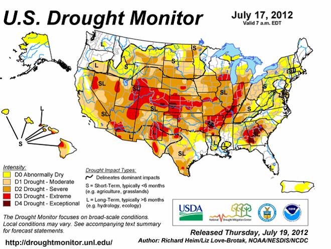 U.S. Drought Monitor den 17 juli 2012