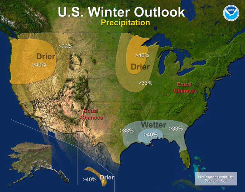 US Winter Outlook - Karta över väder i USA