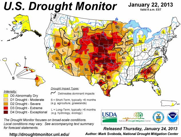 Karta över odlningsväder i USA