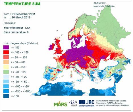 Väder i Europa den 1 december 2011 till 20 mars 2012