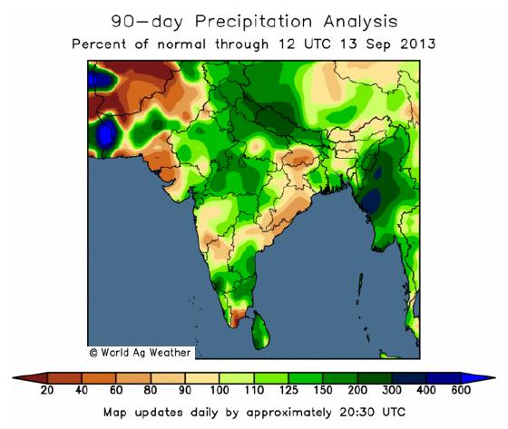 Väderkarta över Indien