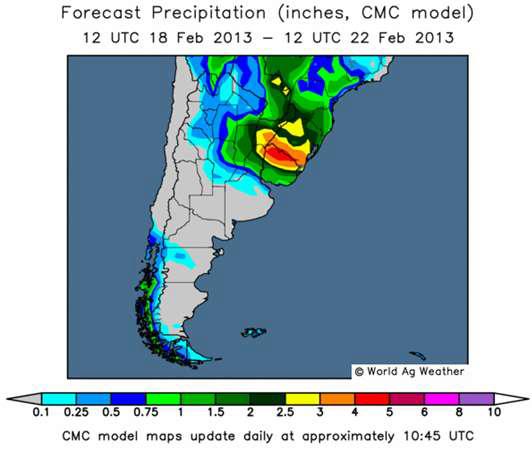 Väderprognos för Sydamerika
