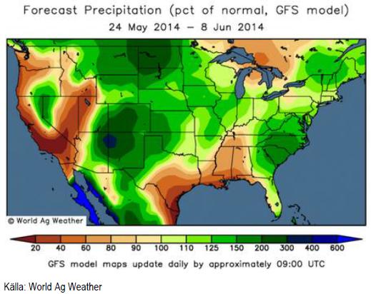Väderprognos för USA