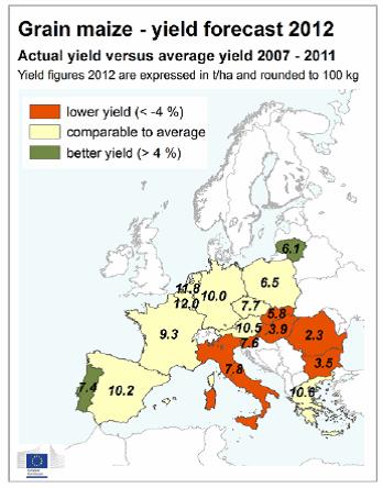 Yield av majs i Europa år 2012
