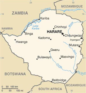 Map of Zimbabwe - Harare